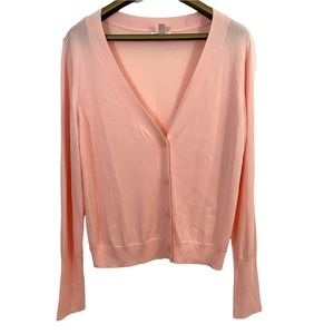 Leith Thin Knit 3/4 Button Front Ribbed Hems Long Sleeve Cardigan